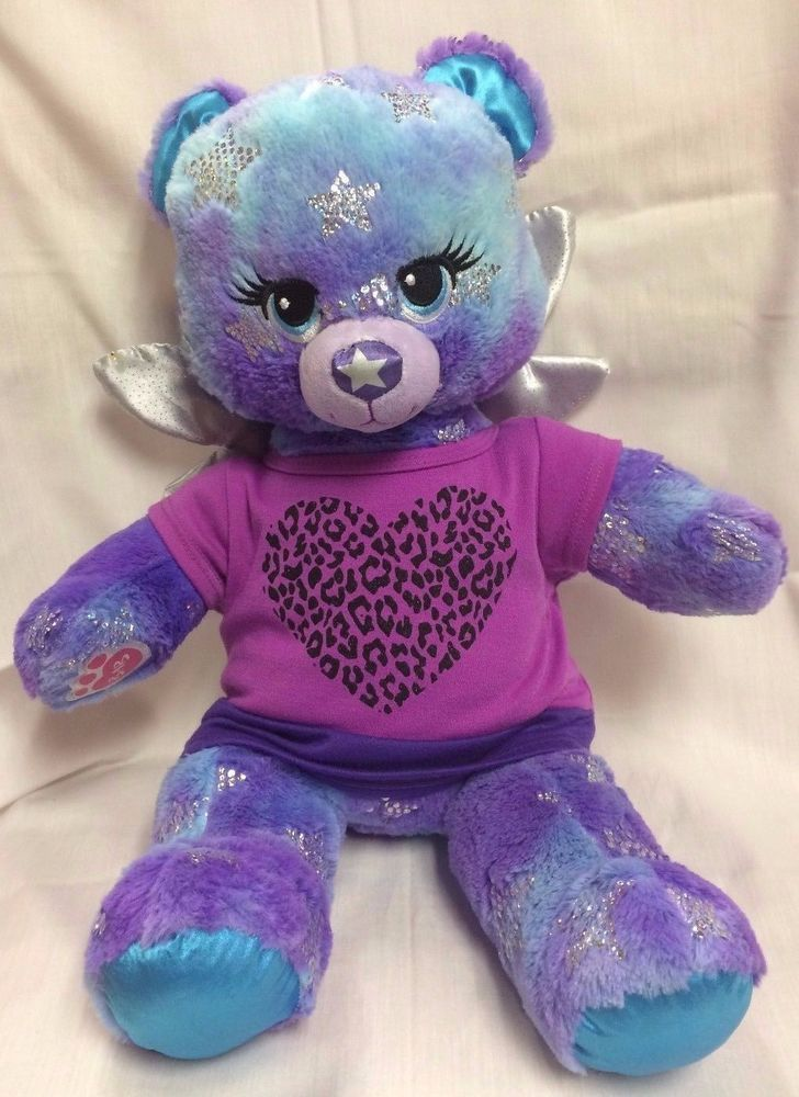 Build a Bear Magical Star Brights Blue Purple Teddy Light Up with Star Sound EUC #BuildaBear