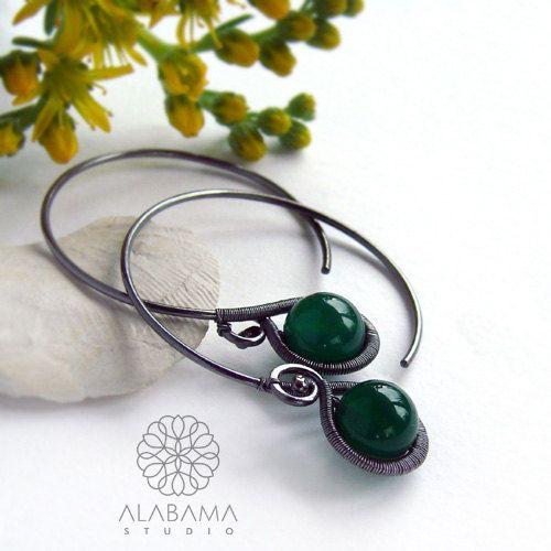 Minimal GREEN  original modern oxidised silver by AlabamaStudio, zł250.00