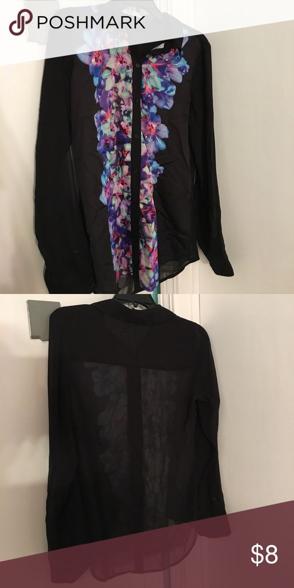 Express flower shirt with sheer back. Size small. Express flower shirt with sheer back. Size small. In great condition Tops Blouses