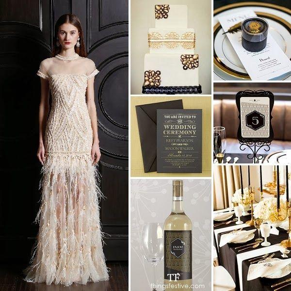 deco wedding inspiration black gold opulence