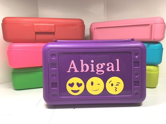 Custom Personalized Pencil box case with emoji and name for