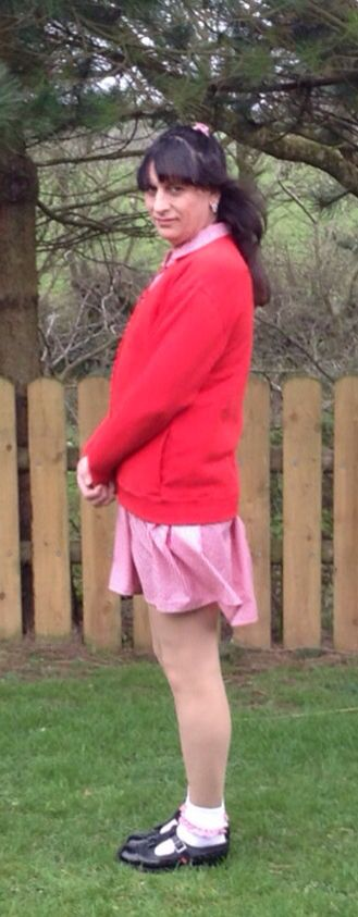 Sissy kenneth taylor in his little girls pink gingham school dress what a complete little sissy he looks in his white ankle socks and girls black patent t bar shoes