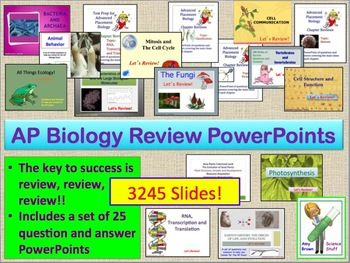 AP Biology Review PowerPoints Set of 25 PPTs of 3245 Slides.  It is time to review, review, review!!