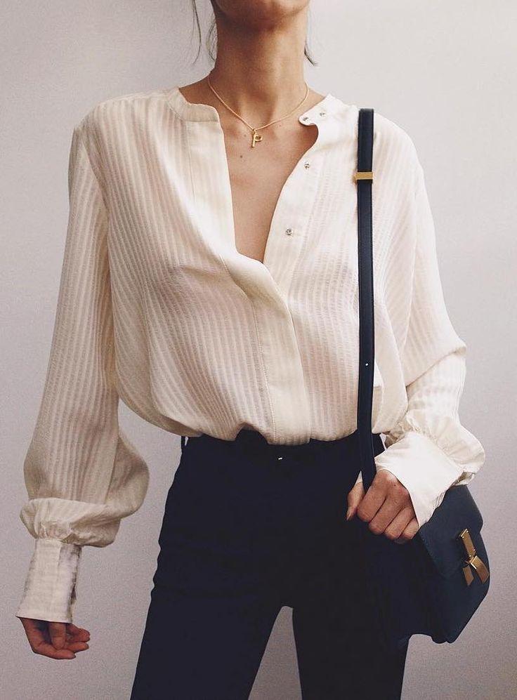 Übergroßes weißes Hemd + schwarzes Denim #ootd #womensfashion