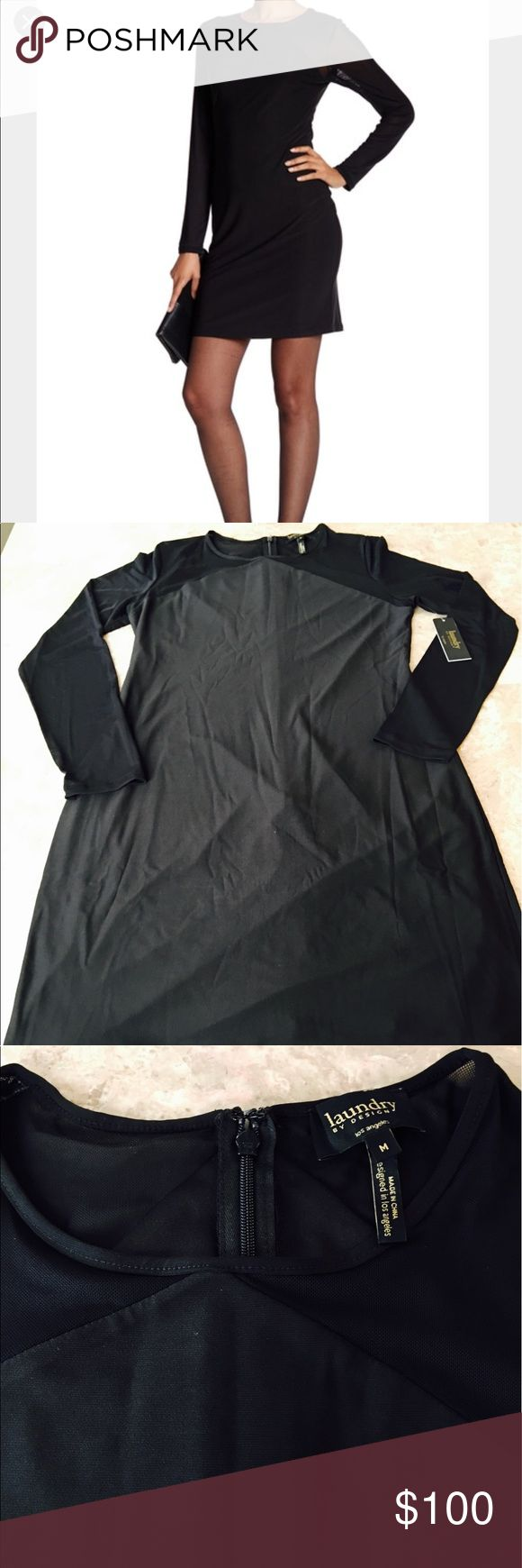 """BRAND NEW WITH TAG LAUNDRY DRESS Very beautiful and elegant / black / with mesh detail / approx 37 """" or knee high for a petite lady. Laundry by Design Dresses Long Sleeve"""