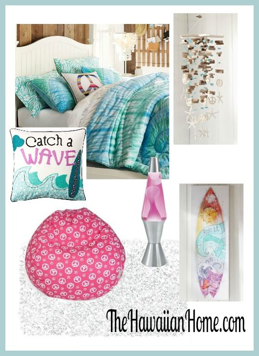 Girls hippie surf theme bedroom home decor tropical for Tropical themed house