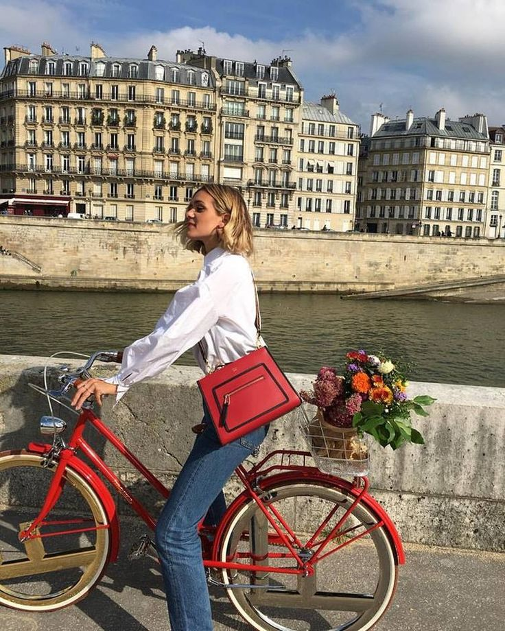 Travel chic with Fendi bike, Red Linen Mini Dress in Daily Inspiration. (Cool Chic Style Fashion)