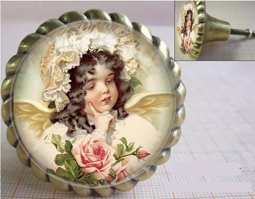Möbelknöpfe Türknöpfe nostalgisch antik Glas Mädchen mit Rosen