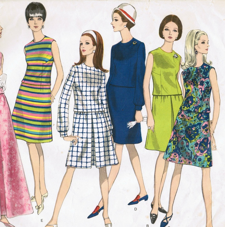 Vintage 60s dress pattern two piece dress with short or long skirt Vogue 1765 Bust 32. $6.00, via Etsy.