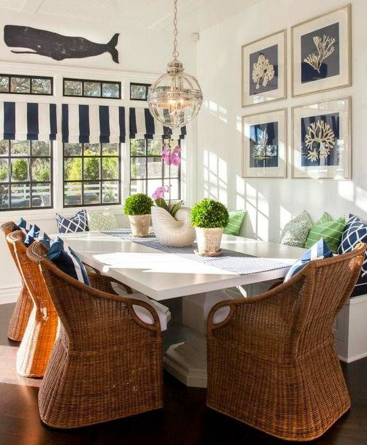 Rattan Dining Room Chairs.... http://www.completely-coastal.com/2017/04/indoor-rattan-chairs-for-coastal-beach-decor.html Natural fiber chairs (from palm) complement coastal and nautical style decorating beautifully.