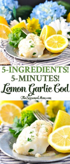 5-Ingredient, 5-Minute Lemon Garlic Cod | Healthy Dinner Recipes | Healthy 5 Ingredient of Less Recipes | Easy Dinner Recipes | Dinner Ideas | Healthy Recipes Easy | Fish Recipes | Seafood Recipes | Gluten Free Recipes for Dinner | Low Carb Recipes for Dinner | High Protein Recipes #lemongarlic #cod #healthyrecipes #easydinner