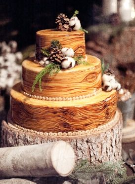 rustic, hand-painted wood details, yellow and brown wedding cake