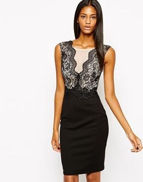 Loves Lipsy Bodycon Dress With Lace Mesh Detail