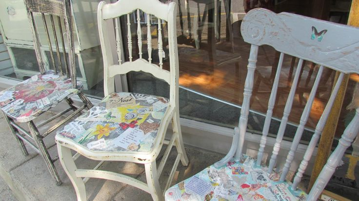 ~Painted & Mixed Media Art Creations on the seats of Vintage Chairs ~ <3 ~  Upcycled Fun at www.mariposadesign.ca    The Vintage Nursing Rocker (on the right) is still available and would make a lovely addition to a Nursery OR a unique wedding gift (many 'love' messages are incorporated in to the mixed media).
