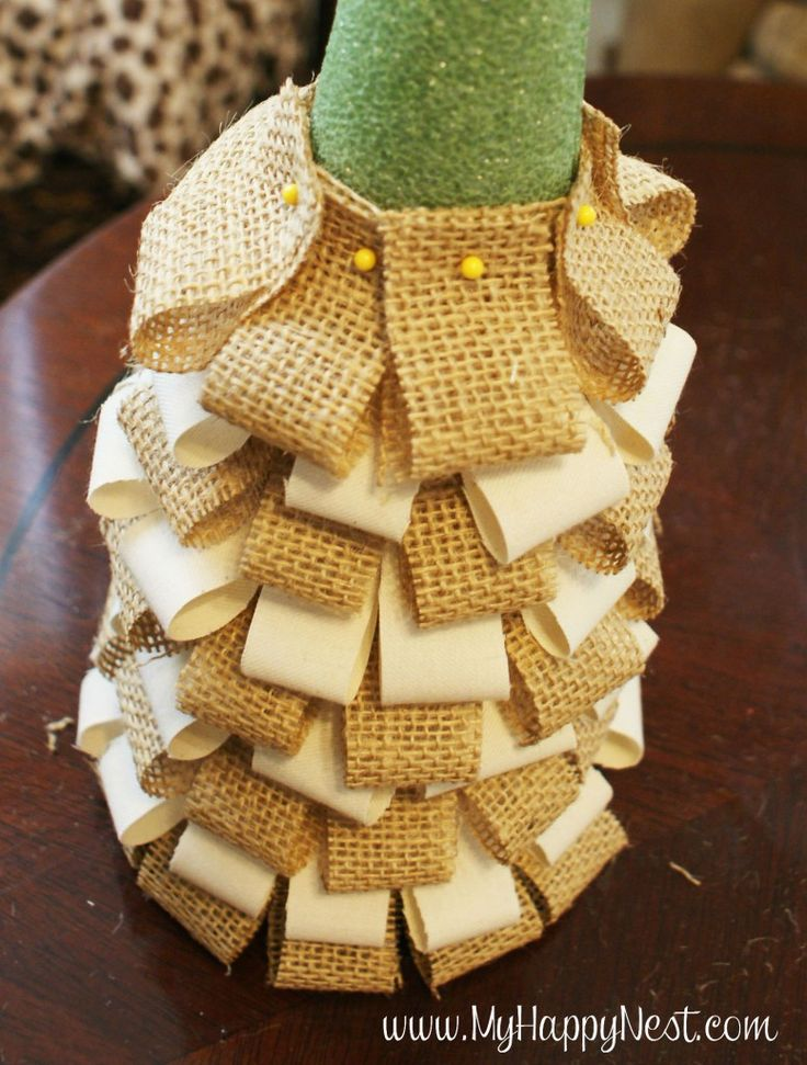 christmas tree using fabric and styrofoam and stick pins | DIY Burlap Trees} - My Happy Nest