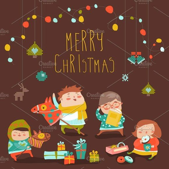 Kids with Christmas gifts. Kids #vector