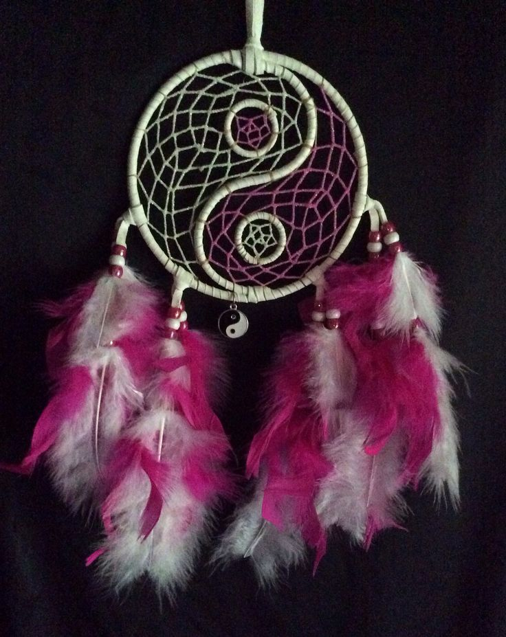 """5"""" white and pink glowing yin-yang dream catcher. $19.00"""