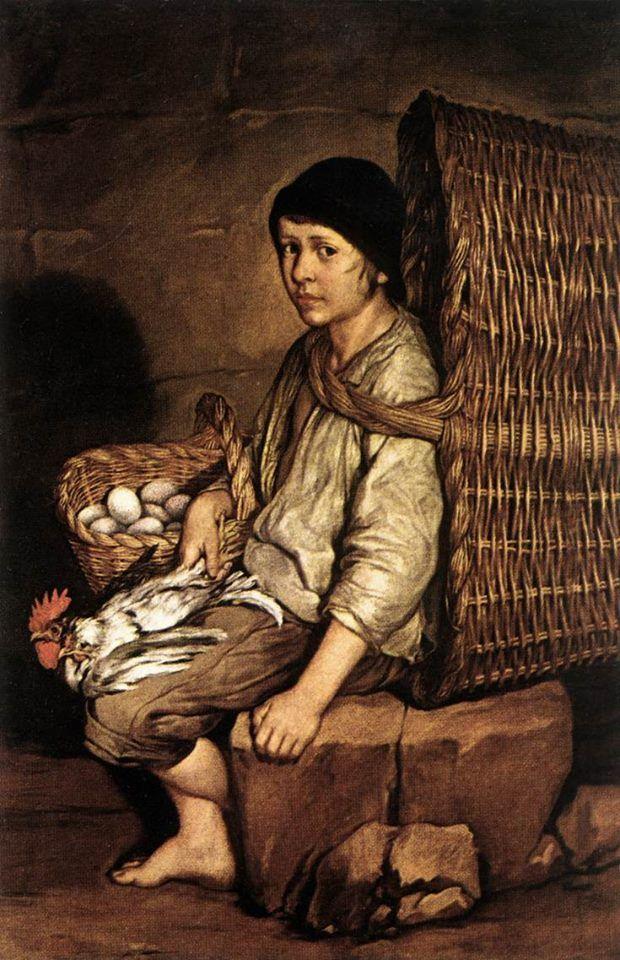 Giacomo Ceruti, Portarolo seduto con cesta, uova e pollame, 1745 ca., Pinacoteca di Brera, Milano