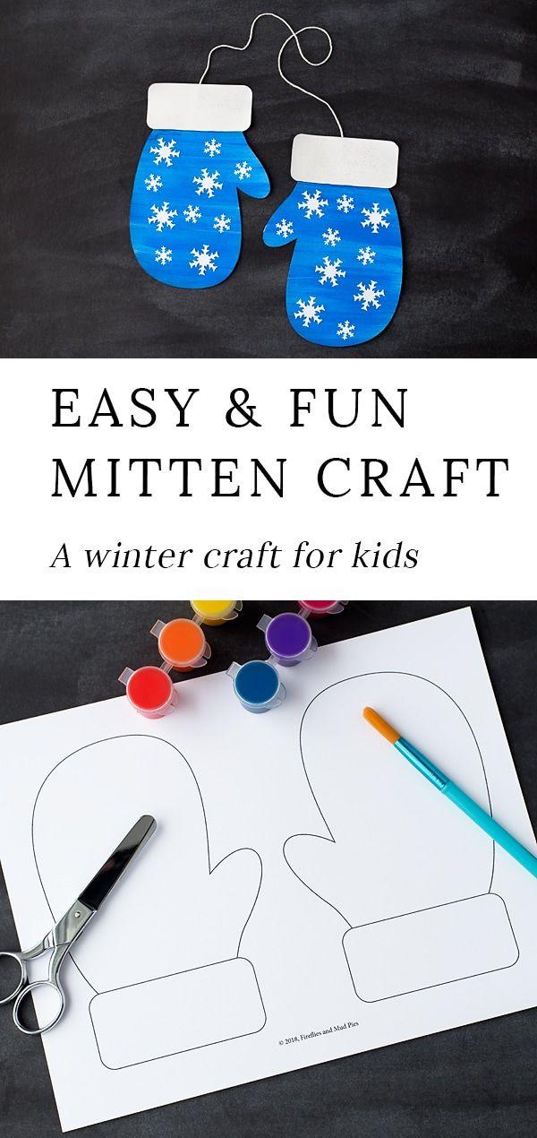 Mitten Craft with Printable Mitten Pattern