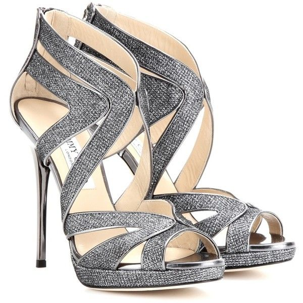 Jimmy Choo Collar Glittered-Canvas Sandals ($800) ❤ liked on Polyvore featuring shoes, sandals, heels, sapatos, high heels, metallic, metallic heel sandals, jimmy choo sandals, canvas sandals and metallic shoes