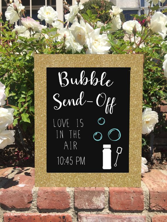Bubble Send Off Wedding Sign Framed Chalkboard Gold Glitter