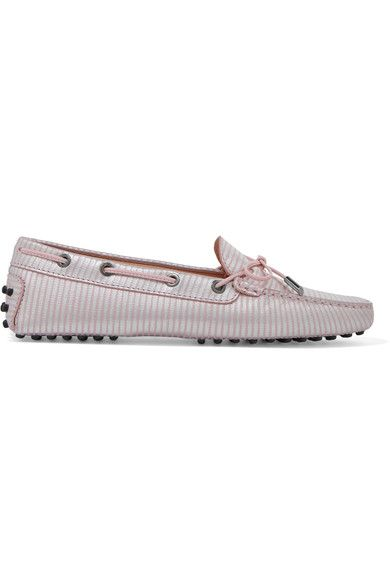 Tod's - Gommino Striped Metallic Leather Loafers - Baby pink - IT38.5