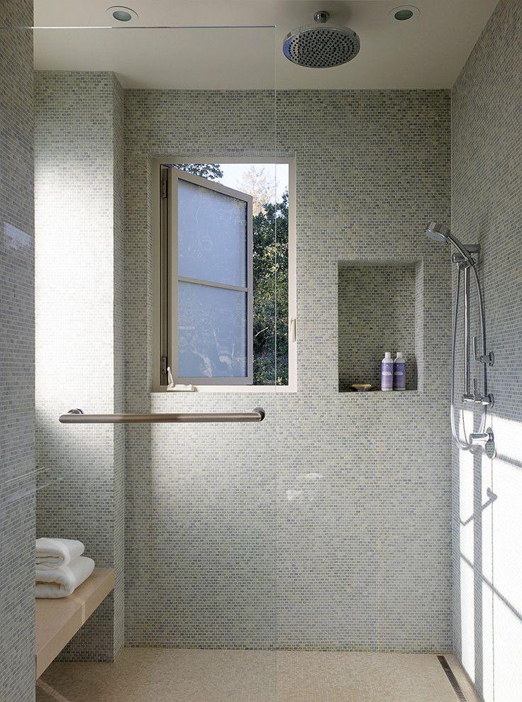 Moen Handheld Shower Bathroom Transitional with Ceiling Mount Shower Head Shower Bench Shower Window