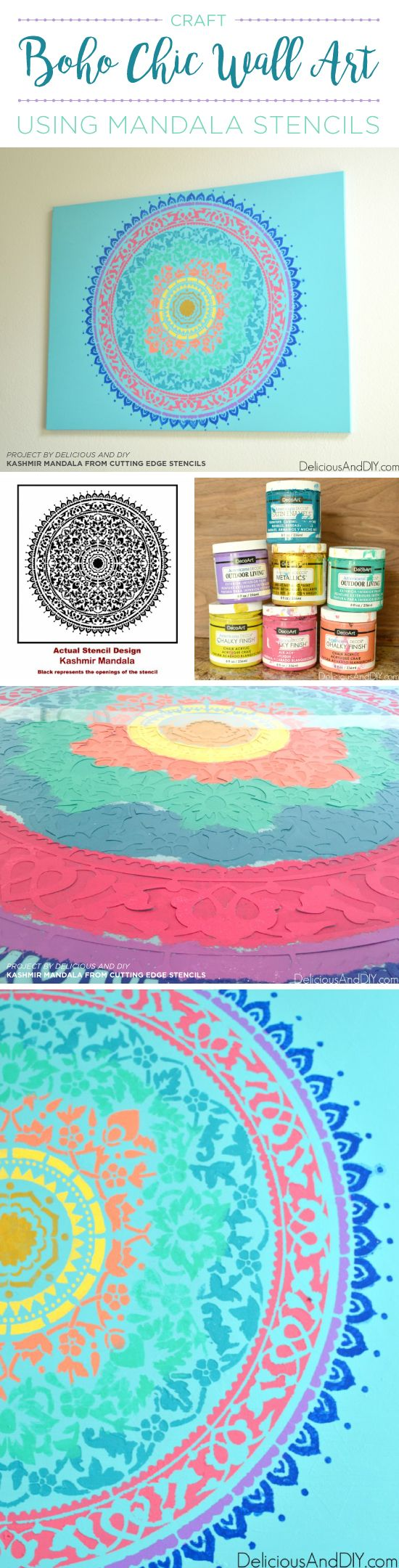 395 best stenciled canvas wall art images on pinterest cutting cutting edge stencils shares how to craft boho chic wall art using the kashmir mandala stencil amipublicfo Choice Image