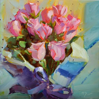 """Just for You 12""""x12"""" Oil on 1/8"""" Museum Series Panel by Nikita Sonavadekar #justforyou #nikitapaints #pink #pinkroses #roses #rose #bouquet #valentinesday #valentine #love #gift #pretty"""
