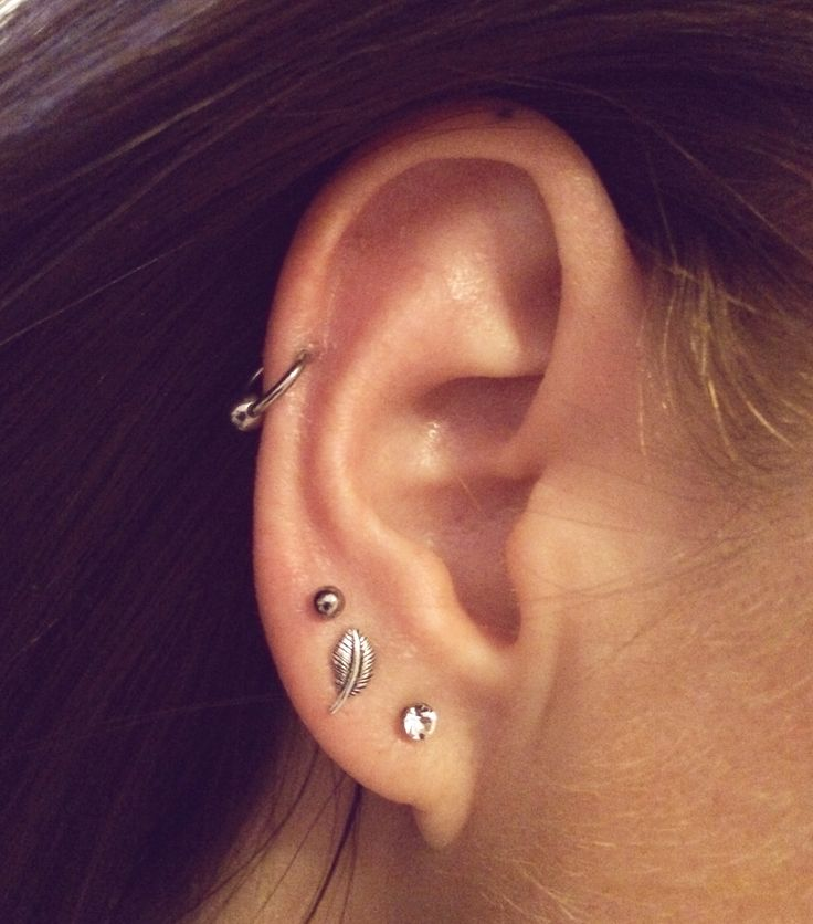 Auricle piercing with 3 lobe piercings. Feather / leaf stud earring.