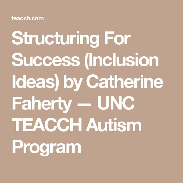 Structuring For Success (Inclusion Ideas) by Catherine Faherty — UNC TEACCH Autism Program