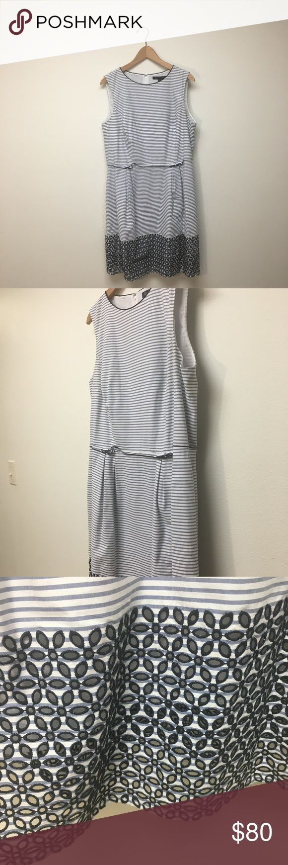 Striped Brooks Brothers Cotton Dress This high quality white and navy striped dress has beautiful detailing. Its a cotton dress that is versatile for both winter and summer. Brooks Brothers Dresses Mini
