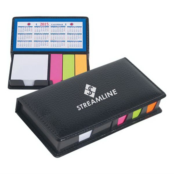 """Keep track of important dates and messages with this black leather-look case of sticky notes! With an overall size of 7"""" x 3 1/2"""", this handy desk accessory features a calendar, memo paper and sticky flags in three neon colors. Perfect for trade shows attendants and new hires, have your company name and logo imprinted on the surface for a customized corporate giveaway. What a unique way to get your brand name to stick!"""