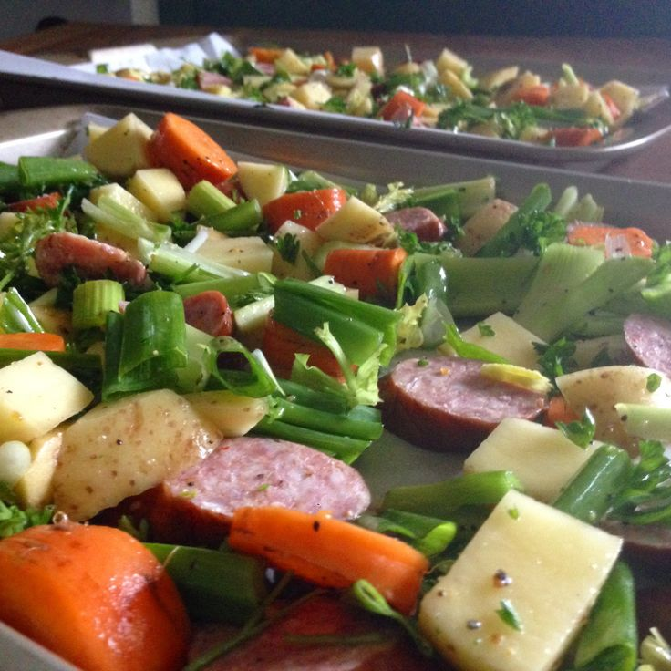 Rustic Oven-Roasted Herbed Root Veggies & Sweet Smoked Sausage   Food for a Year:
