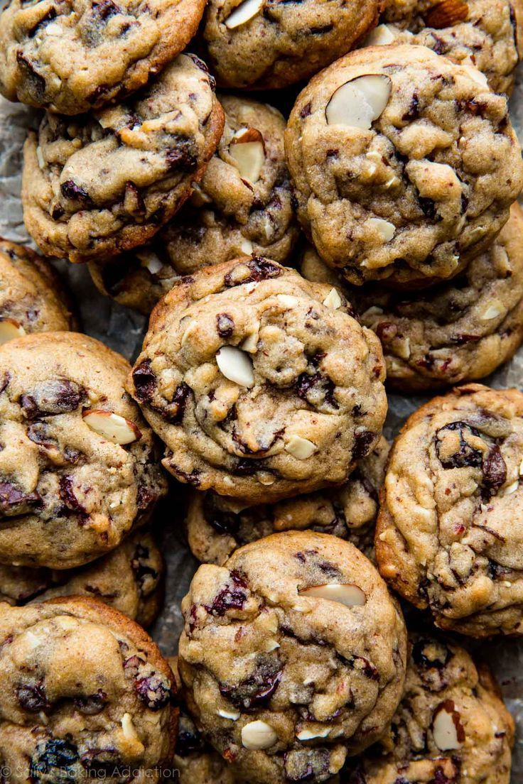 dark chocolate cranberry almond cookies.