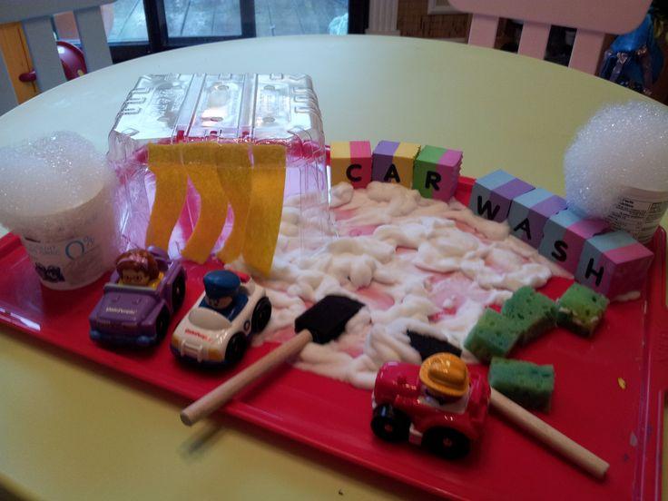 Car Wash - Invitation to Play  Shaving Cream, Sponges & Bubbles.