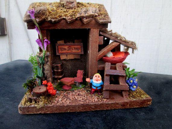 So cute!  Everyone needs a little gnome house!  Garden Gnome Fairy House Miniature Whimsical Garden Art Handmade