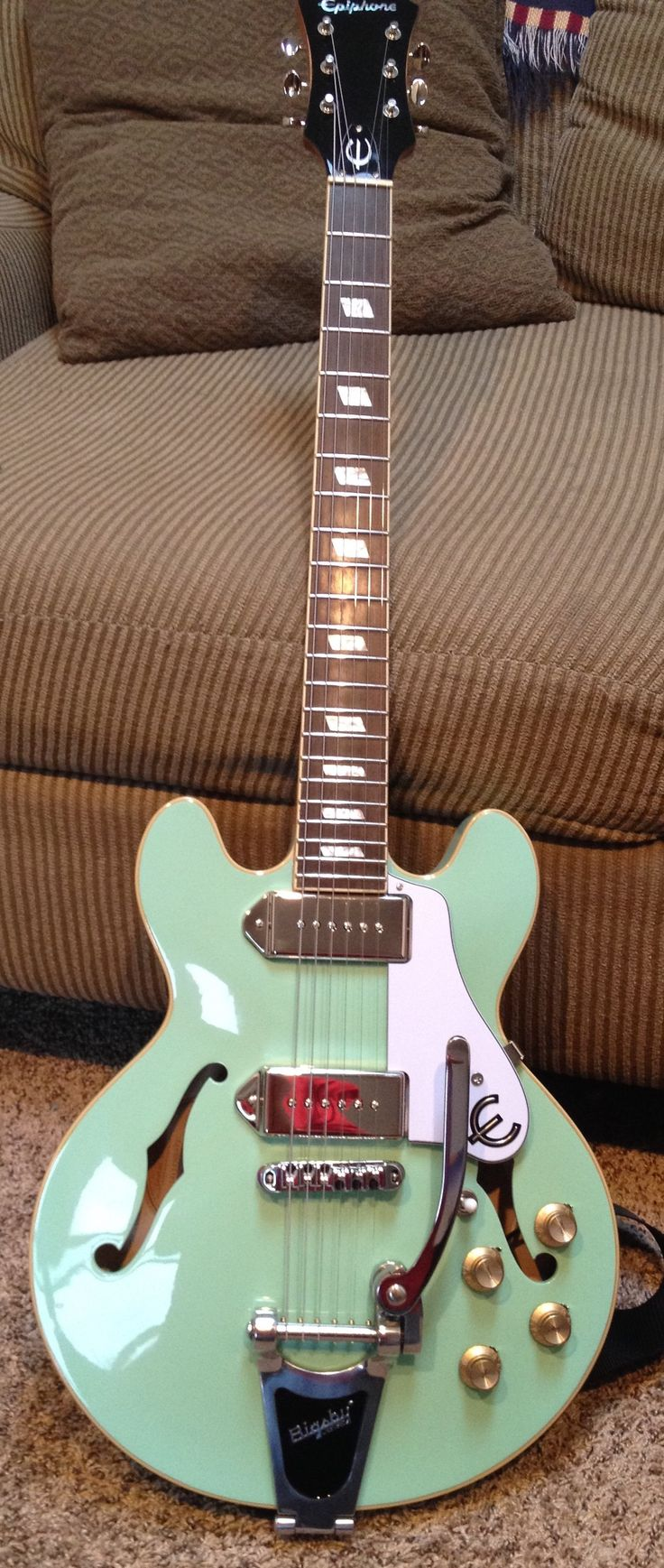 Sea foam green Epiphone Casino Coupe.