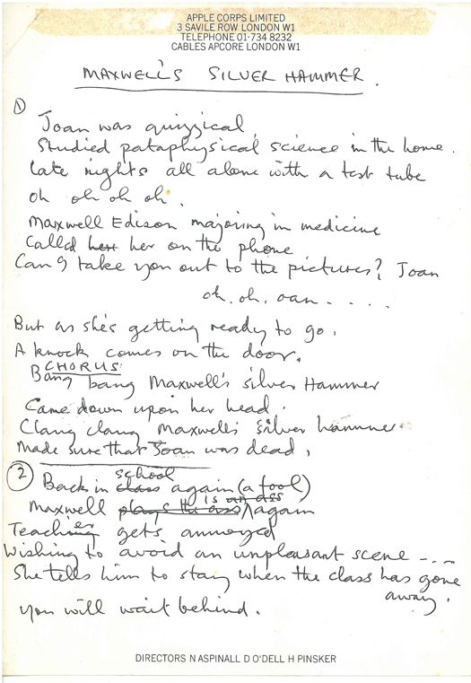 Paul McCartney's handwritten lyrics (on Apple Corps. stationery) to Maxwell's Silver Hammer