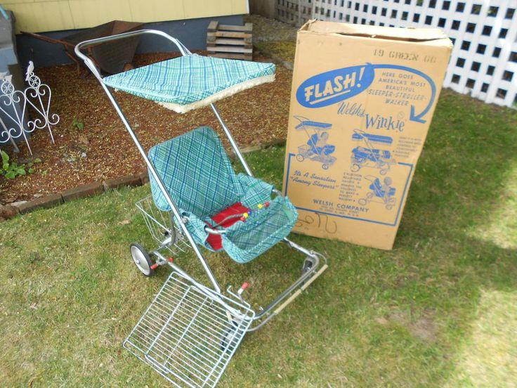 Vintage Baby Stroller Pram MID CENTURY Welsh Winkie w/BOX