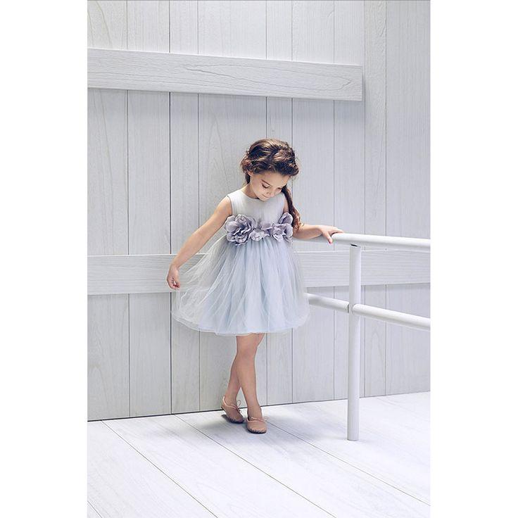 LOVE by Nelly Stella [ラブバイネリーステラ] Blossom Dress Artic Ice(グレー×ライトブルー) - インポートベビー・子供服 出産祝い vivid LIFE