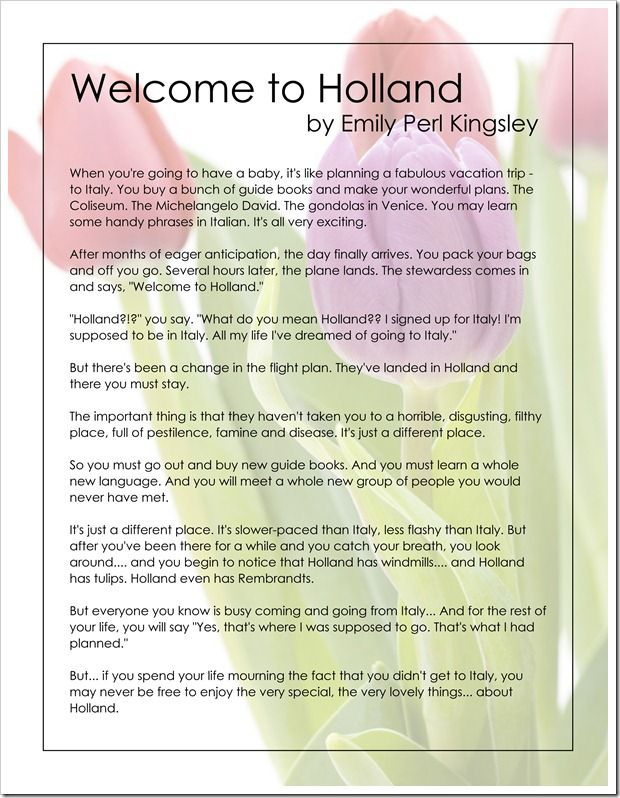 Welcome to Holland - Free Printable - Heard this poem ...