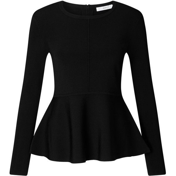 John Lewis Peplum Knit Jumper , Black ($72) ❤ liked on Polyvore featuring tops, sweaters, black, long knit sweater, zip back sweater, long jumpers, knit jumper sweater and long sleeve jumper