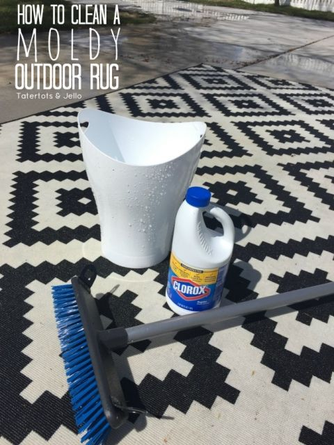 Learn how to clean a moldy indoor #outdoor #rug. it is easy and you can easily wash your outdoor rug at home.