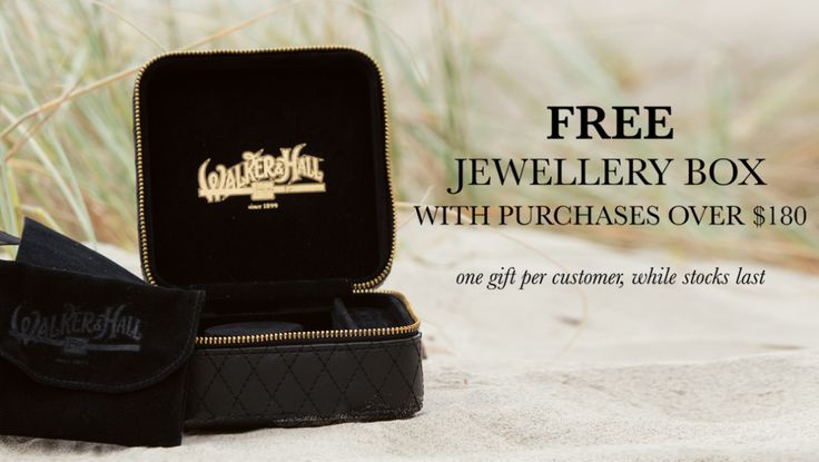 Receive a free jewellery box when you spend over $180 at Walker and Hall! A neat edition to a Christmas present.