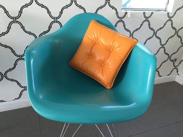 Vintage Square Vinyl Pillow Bright Orange Vintage