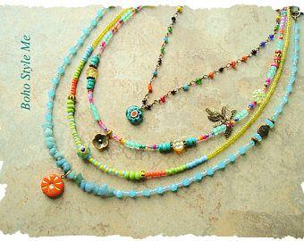 Gioielli della Boemia, colorato divertimento a strati collana, Hippie moderno, urbano Gypsy, Boho Chic, stile Boho Me, Kaye Kraus