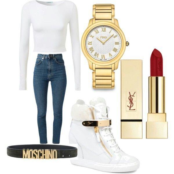 Giuseppe Zanotti shoes  Gold watch Moschino belt  YSL rouge