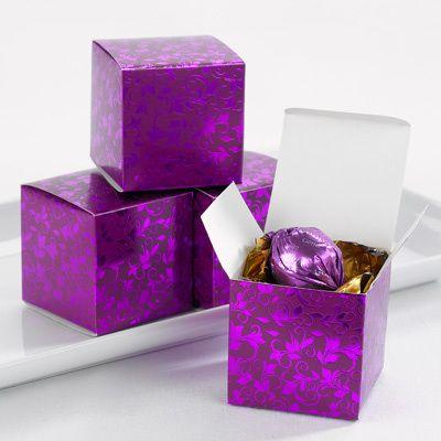 Foil Patterned Purple Favor Boxes Set Of 25