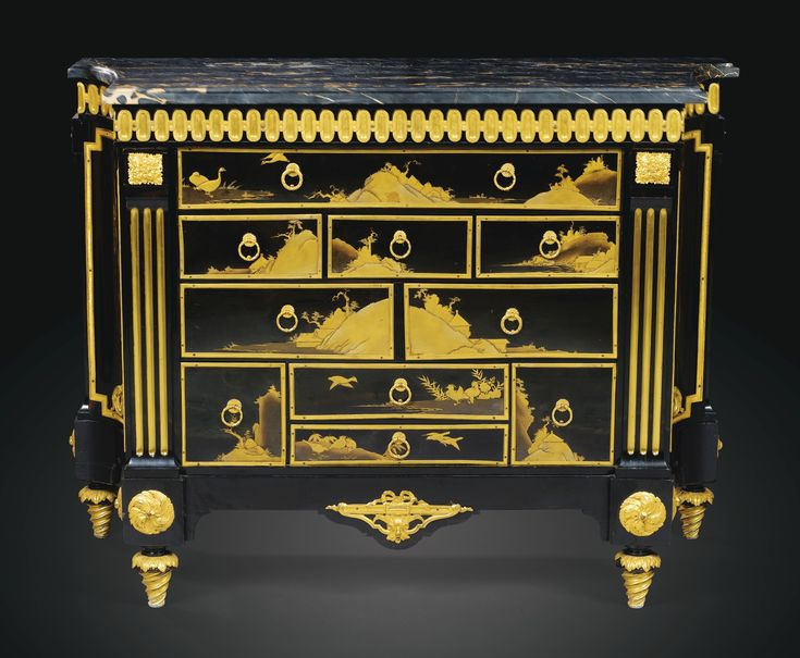 A GILTBRONZE MOUNTED JAPANESE LACQUER AND EBONY VENEERED COMMODE EN CABINET, LATE LOUIS XV, CIRCA 1765-1770, STAMPED I. DUBOIS